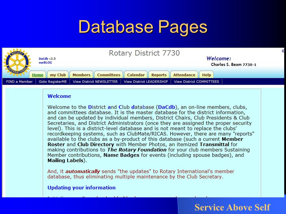 Database Pages Service Above Self