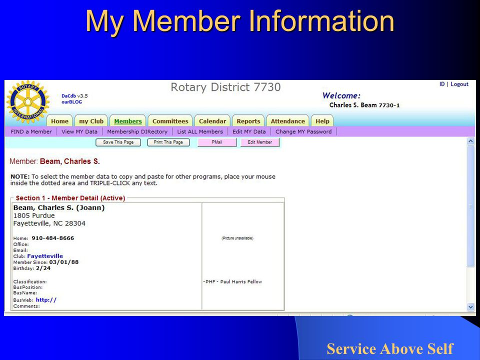 My Member Information Service Above Self