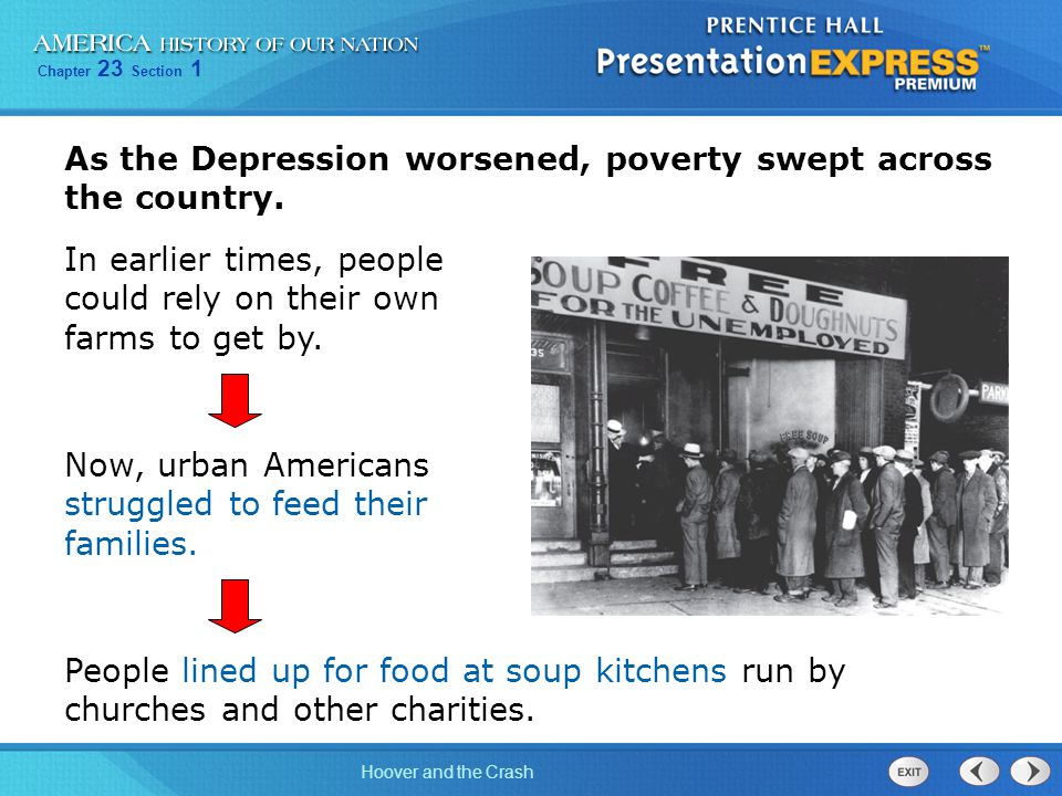 Chapter 23 Section 1 Hoover and the Crash As the Depression worsened, poverty swept across the country. People lined up for food at soup kitchens run