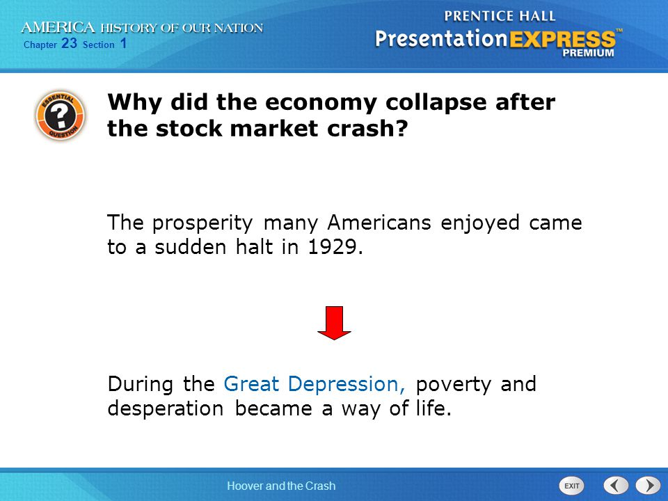 Chapter 23 Section 1 Hoover and the Crash Despite President Hoover's optimistic outlook, the economy had weakened during the 1920s.
