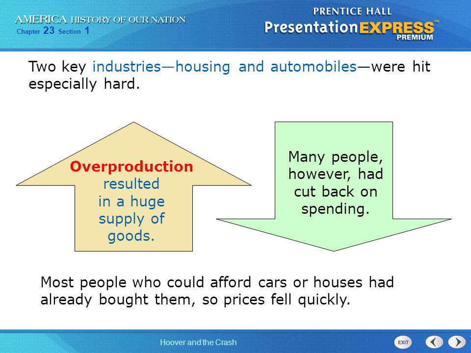 Chapter 23 Section 1 Hoover and the Crash A banking crisis also contributed to the Depression.
