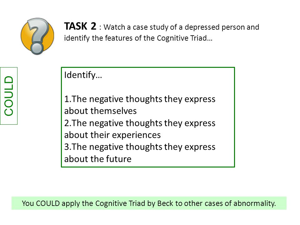 COULD TASK 2 : Watch a case study of a depressed person and identify the features of the Cognitive Triad… Identify… 1.The negative thoughts they expre