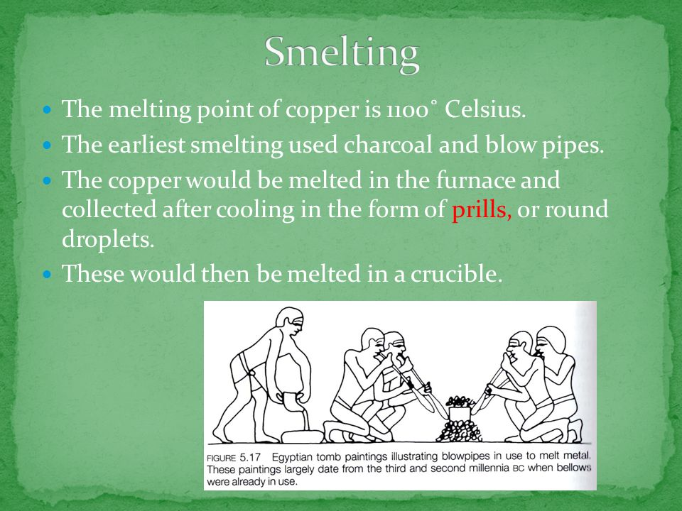 The melting point of copper is 1100˚ Celsius.The earliest smelting used charcoal and blow pipes.