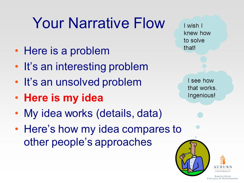 Your Narrative Flow Here is a problem It's an interesting problem It's an unsolved problem Here is my idea My idea works (details, data) Here's how my idea compares to other people's approaches I wish I knew how to solve that.