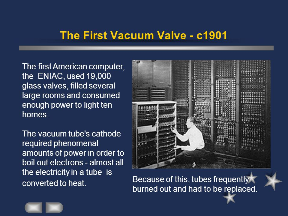The First Vacuum Valve - c1901 Because of this, tubes frequently burned out and had to be replaced.