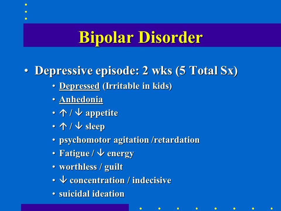 Bipolar Disorder BP-I: Mania (with/without Depr)BP-I: Mania (with/without Depr) –M or M-D BP-II: Depression and hypomaniaBP-II: Depression and hypomania –D-m Cyclothymia: m-dCyclothymia: m-d Mixed episode: M + D (same time)Mixed episode: M + D (same time) Rapid cycling: 4 or more episodes / yr.Rapid cycling: 4 or more episodes / yr.
