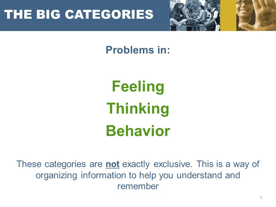 THE BIG CATEGORIES Problems in: Feeling Thinking Behavior These categories are not exactly exclusive. This is a way of organizing information to help