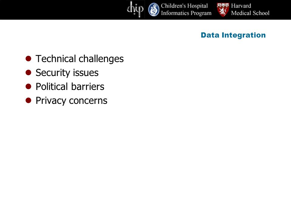 Data Integration Technical challenges Security issues Political barriers Privacy concerns