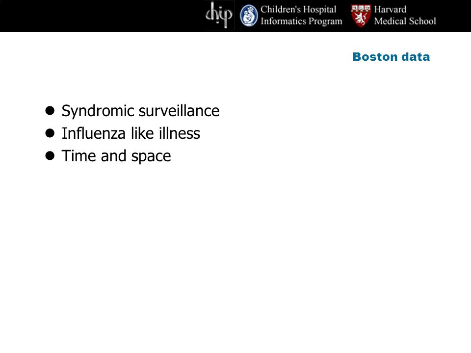 Boston data Syndromic surveillance Influenza like illness Time and space