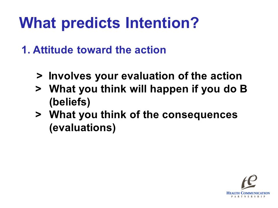 What predicts Intention. 1.