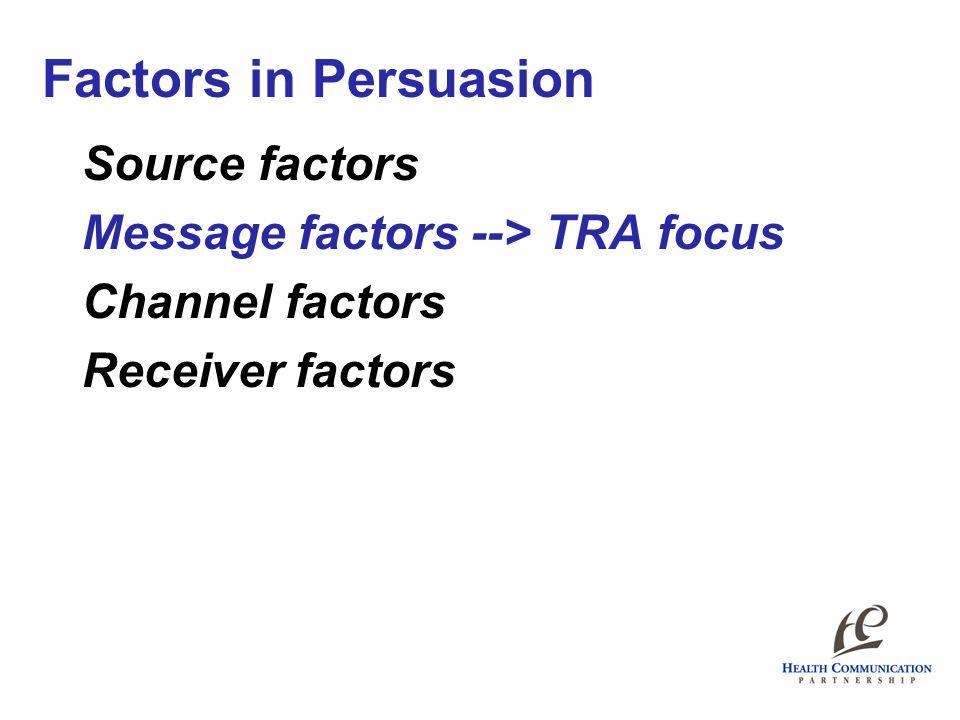 Source factors Message factors --> TRA focus Channel factors Receiver factors Factors in Persuasion