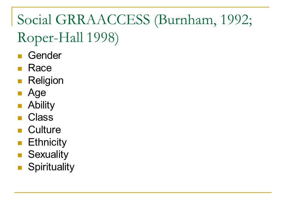 Social GRRAACCESS (Burnham, 1992; Roper-Hall 1998) Gender Race Religion Age Ability Class Culture Ethnicity Sexuality Spirituality