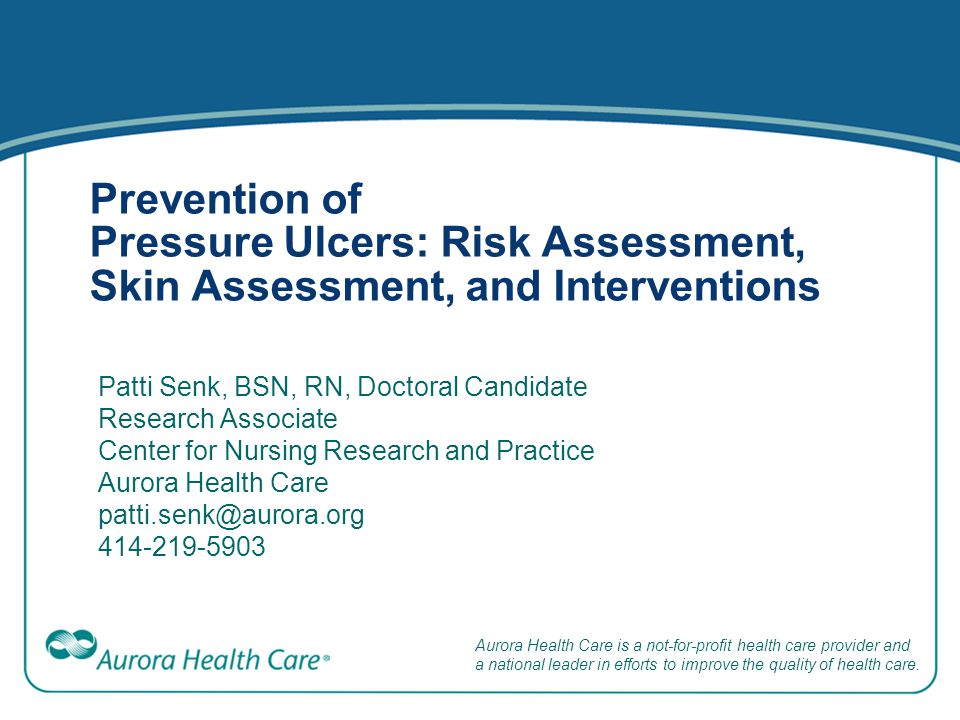 Braden Scale for Predicting Pressure Sore Risk Enables nurses to collect information needed to identify patients at risk to develop a pressure ulcer Scale consists of 6 subscales Based on point system Ranges from no impairment or limitation to total dependent care (Braden, 1988, accessed at http://www.bradenscale.com/)