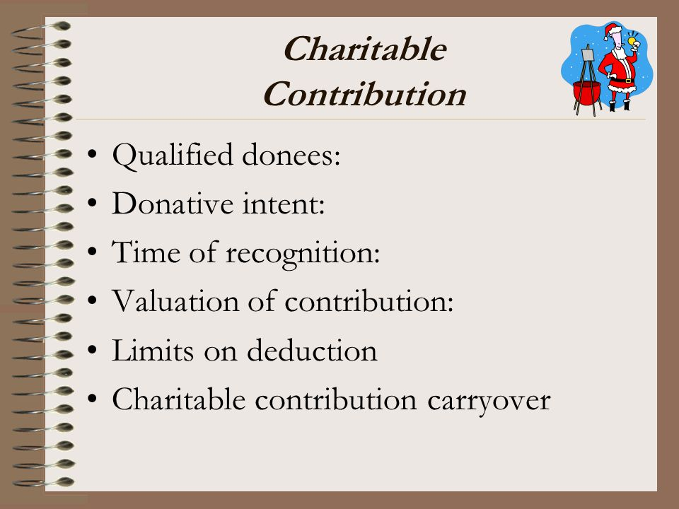 Charitable Contribution Qualified donees: Donative intent: Time of recognition: Valuation of contribution: Limits on deduction Charitable contribution