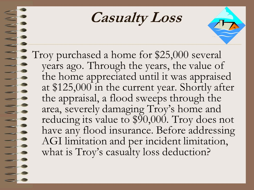 Casualty Loss Troy purchased a home for $25,000 several years ago. Through the years, the value of the home appreciated until it was appraised at $125
