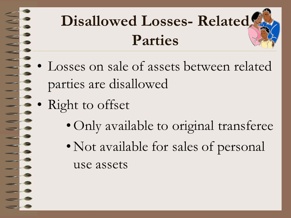Disallowed Losses- Related Parties Losses on sale of assets between related parties are disallowed Right to offset Only available to original transfer