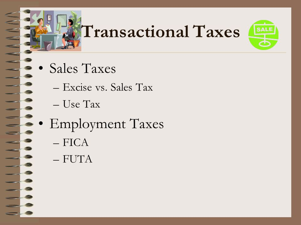 Transactional Taxes Sales Taxes –Excise vs. Sales Tax –Use Tax Employment Taxes –FICA –FUTA