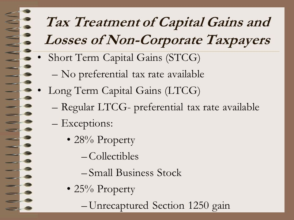 Tax Treatment of Capital Gains and Losses of Non-Corporate Taxpayers Short Term Capital Gains (STCG) –No preferential tax rate available Long Term Cap