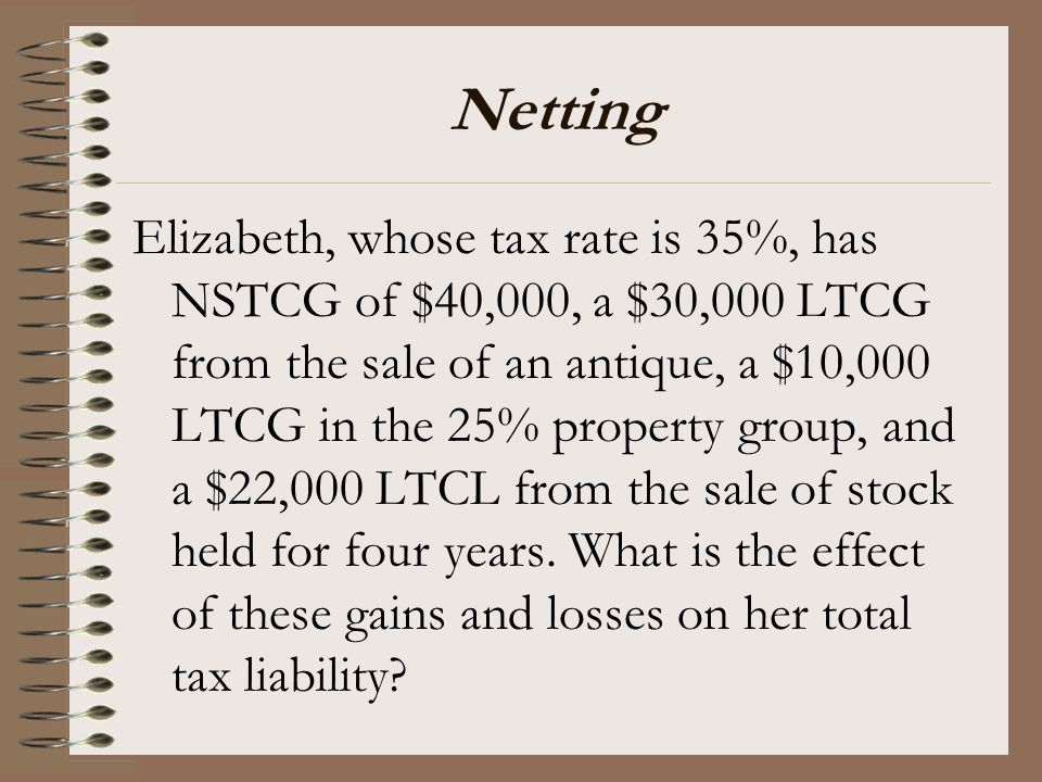 Netting Elizabeth, whose tax rate is 35%, has NSTCG of $40,000, a $30,000 LTCG from the sale of an antique, a $10,000 LTCG in the 25% property group,