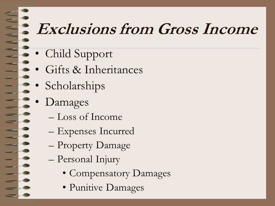 Exclusions from Gross Income Child Support Gifts & Inheritances Scholarships Damages –Loss of Income –Expenses Incurred –Property Damage –Personal Inj