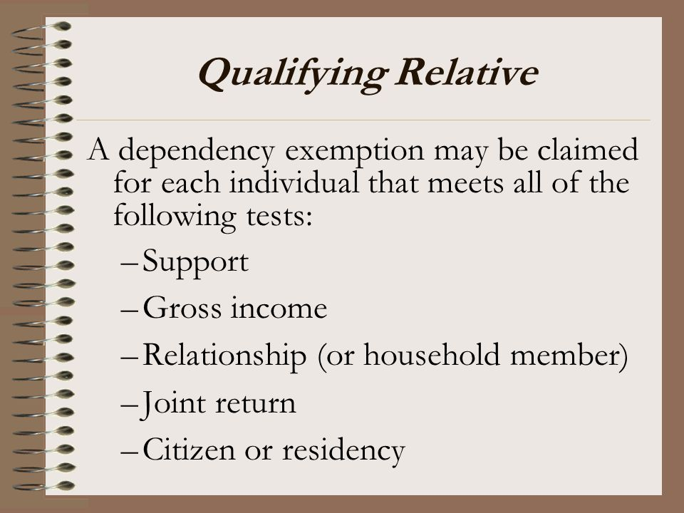 Qualifying Relative A dependency exemption may be claimed for each individual that meets all of the following tests: –Support –Gross income –Relations