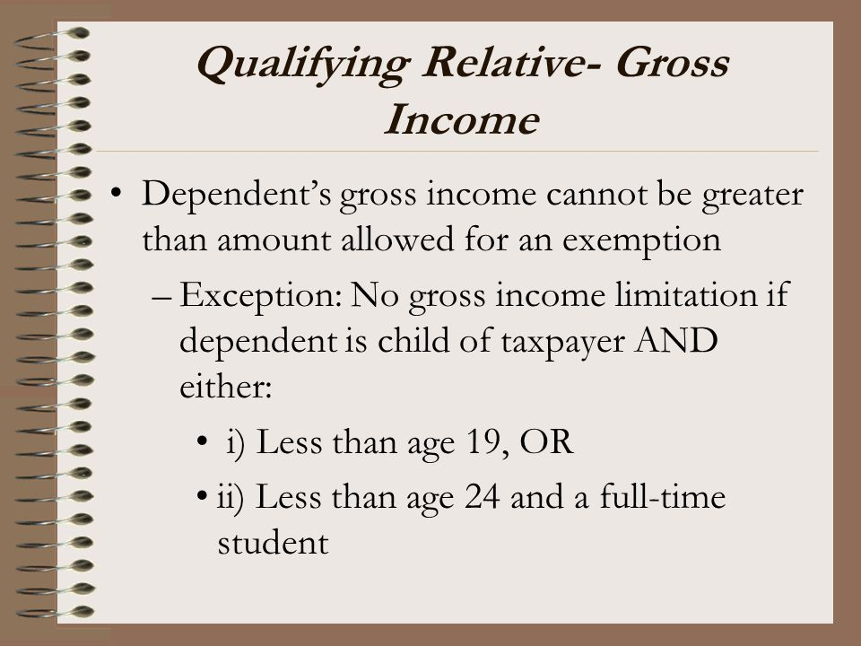 Qualifying Relative- Gross Income Dependent's gross income cannot be greater than amount allowed for an exemption –Exception: No gross income limitati