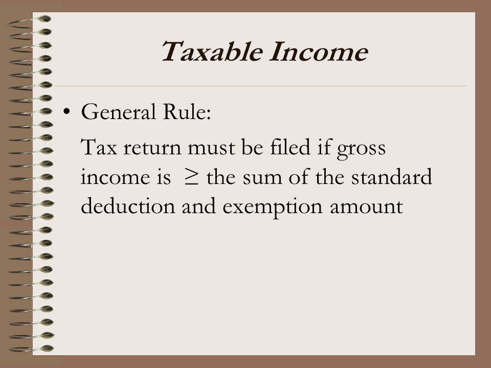 Taxable Income General Rule: Tax return must be filed if gross income is ≥ the sum of the standard deduction and exemption amount