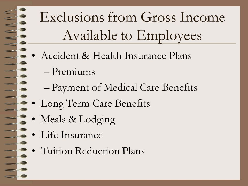 Exclusions from Gross Income Available to Employees Accident & Health Insurance Plans –Premiums –Payment of Medical Care Benefits Long Term Care Benef