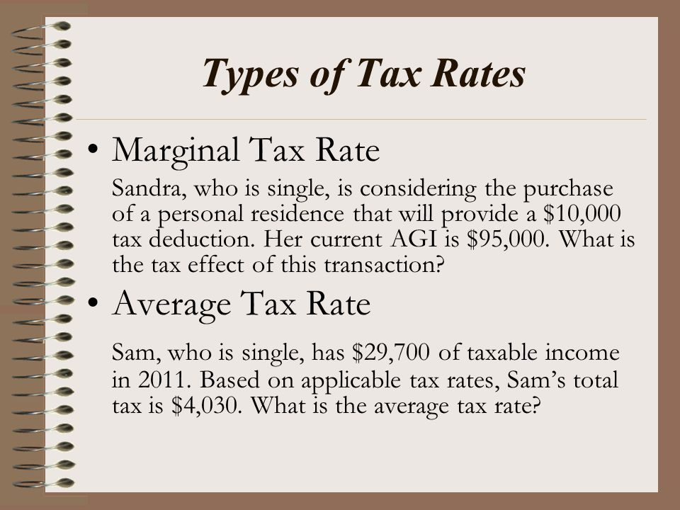 Types of Tax Rates Marginal Tax Rate Sandra, who is single, is considering the purchase of a personal residence that will provide a $10,000 tax deduct
