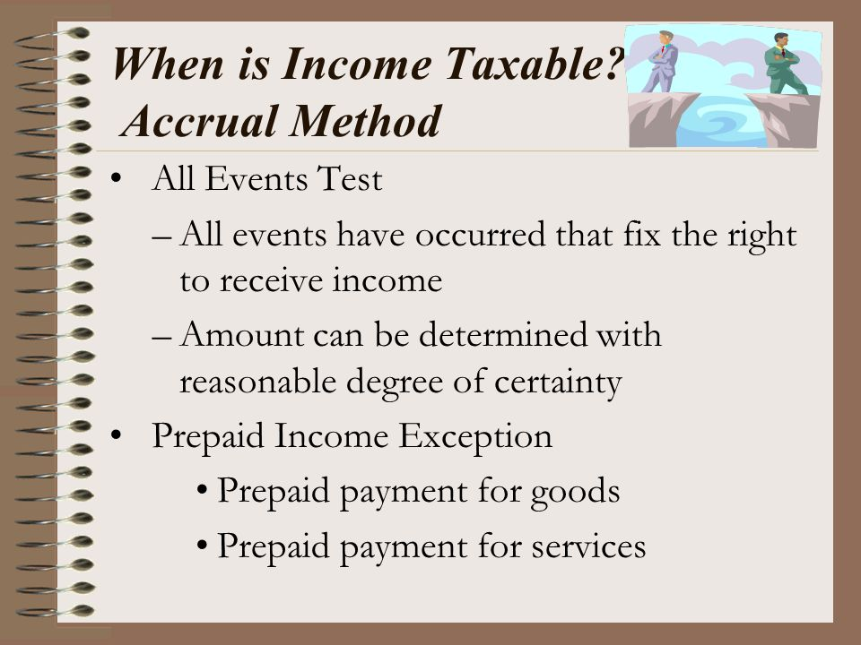 When is Income Taxable? Accrual Method All Events Test –All events have occurred that fix the right to receive income –Amount can be determined with r