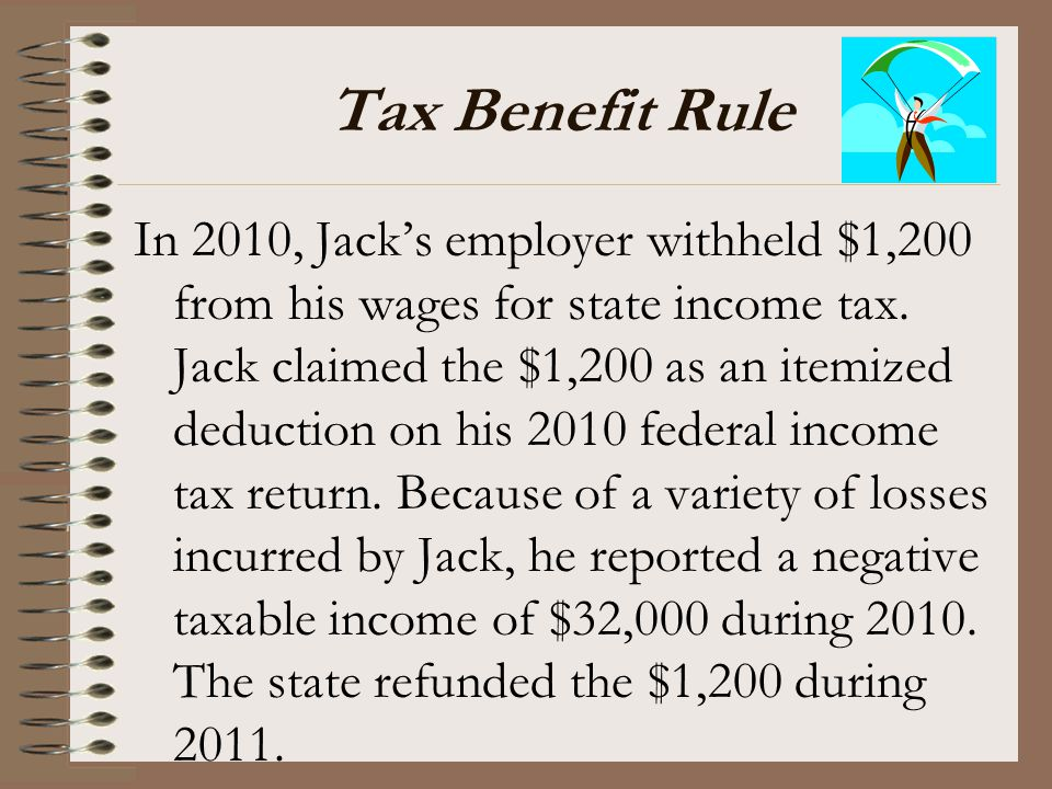 Tax Benefit Rule In 2010, Jack's employer withheld $1,200 from his wages for state income tax. Jack claimed the $1,200 as an itemized deduction on his