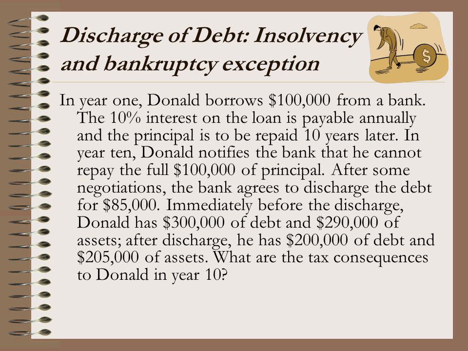 Discharge of Debt: Insolvency and bankruptcy exception In year one, Donald borrows $100,000 from a bank. The 10% interest on the loan is payable annua