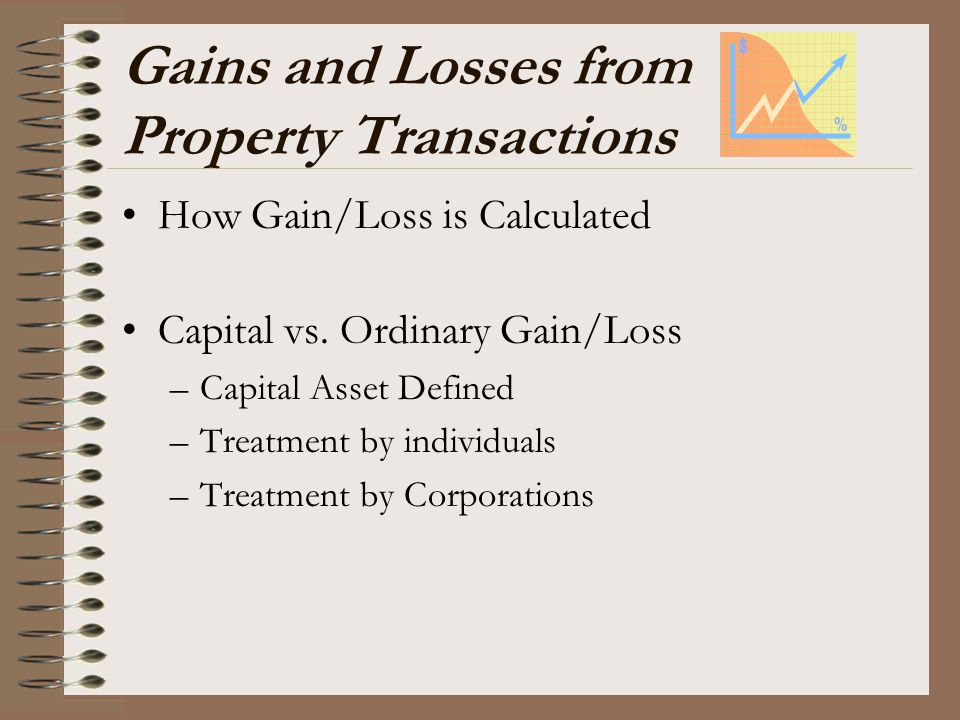 Gains and Losses from Property Transactions How Gain/Loss is Calculated Capital vs. Ordinary Gain/Loss –Capital Asset Defined –Treatment by individual