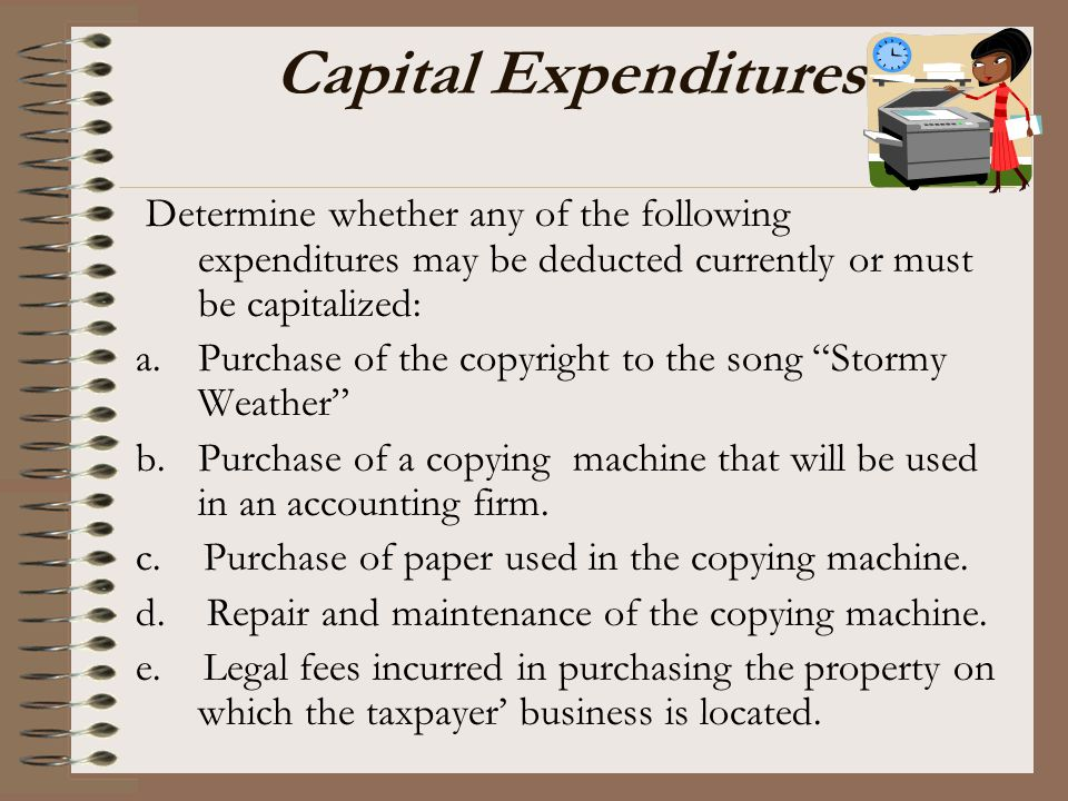 Capital Expenditures Determine whether any of the following expenditures may be deducted currently or must be capitalized: a.Purchase of the copyright