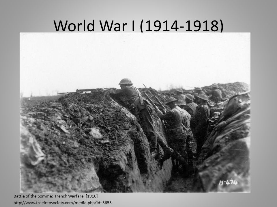 World War I (1914-1918) Battle of the Somme: Trench Warfare [1916] http://www.freeinfosociety.com/media.php id=3655