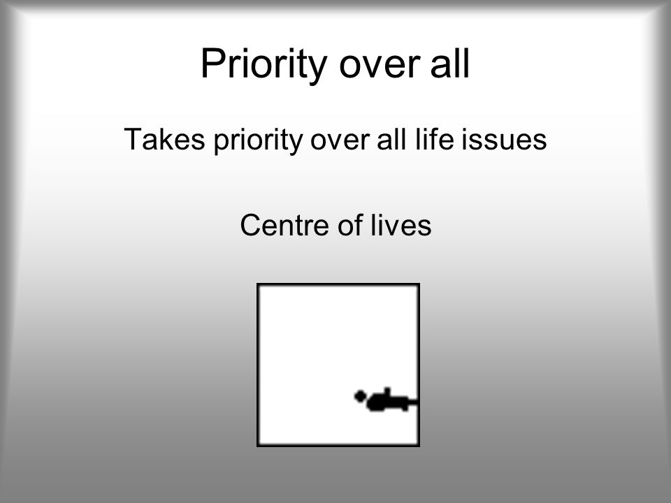 Priority over all Takes priority over all life issues Centre of lives