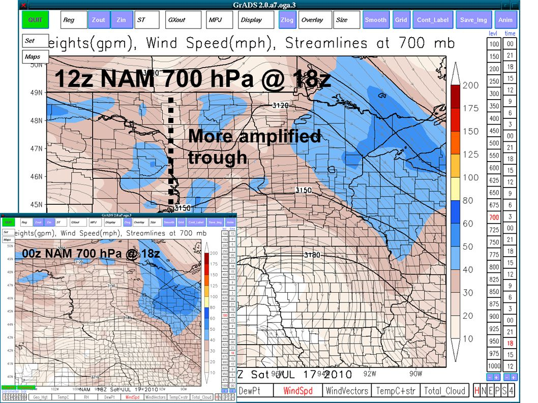 More amplified trough 12z NAM 700 hPa @ 18z 00z NAM 700 hPa @ 18z