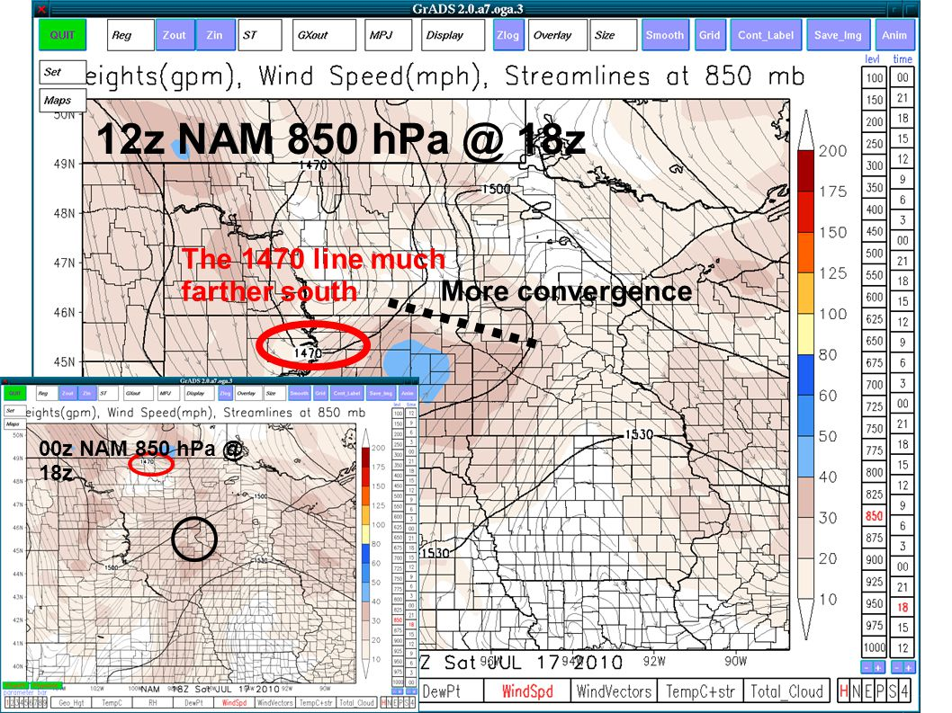 The 1470 line much farther south More convergence 00z NAM 850 hPa @ 18z 12z NAM 850 hPa @ 18z