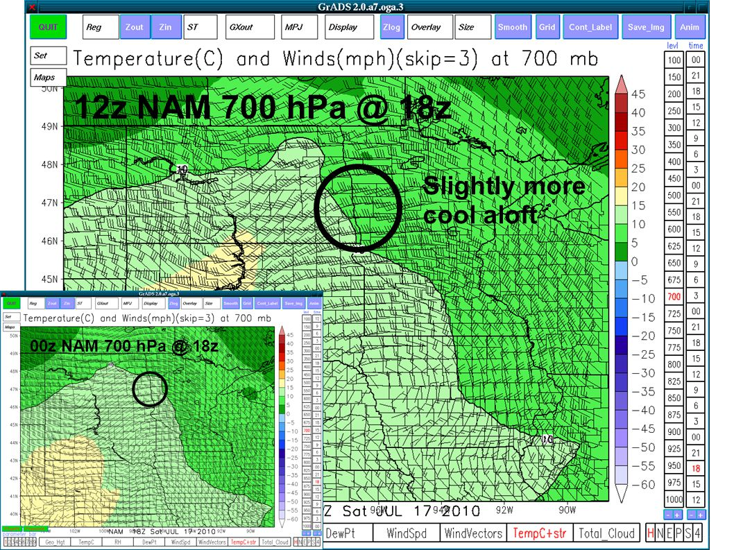 Slightly more cool aloft 12z NAM 700 hPa @ 18z 00z NAM 700 hPa @ 18z