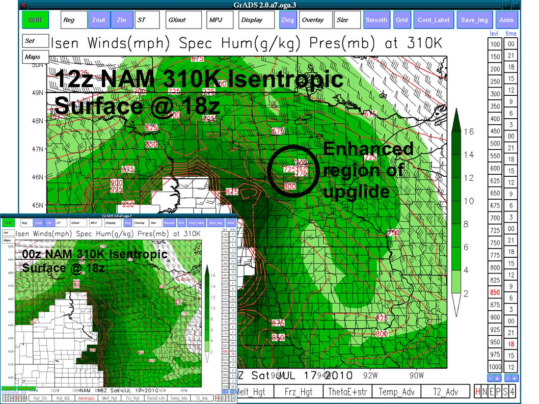 Enhanced region of upglide 12z NAM 310K Isentropic Surface @ 18z 00z NAM 310K Isentropic Surface @ 18z