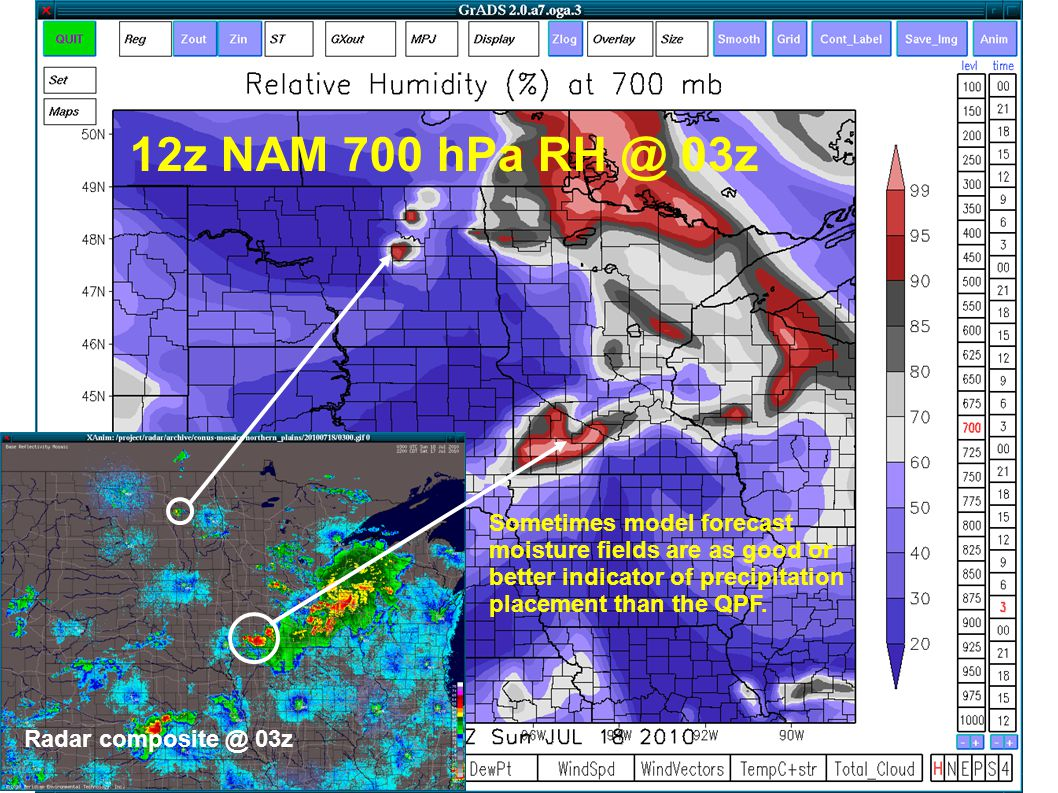 Sometimes model forecast moisture fields are as good or better indicator of precipitation placement than the QPF. Radar composite @ 03z 12z NAM 700 hP
