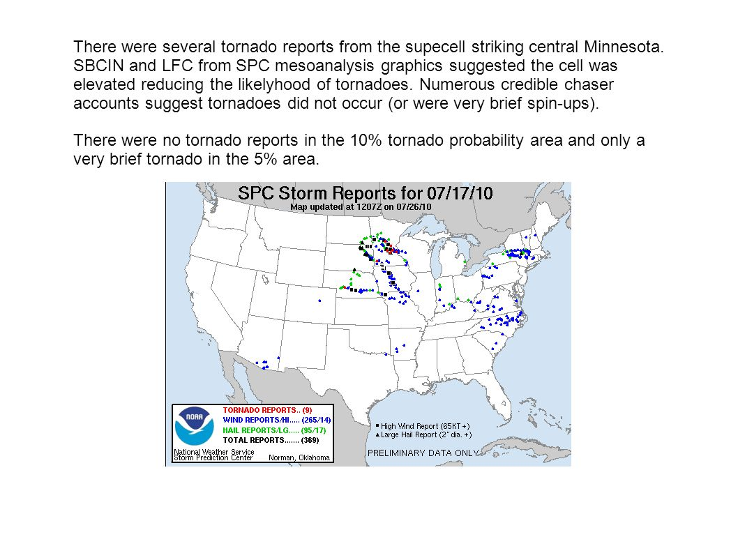 There were several tornado reports from the supecell striking central Minnesota. SBCIN and LFC from SPC mesoanalysis graphics suggested the cell was e