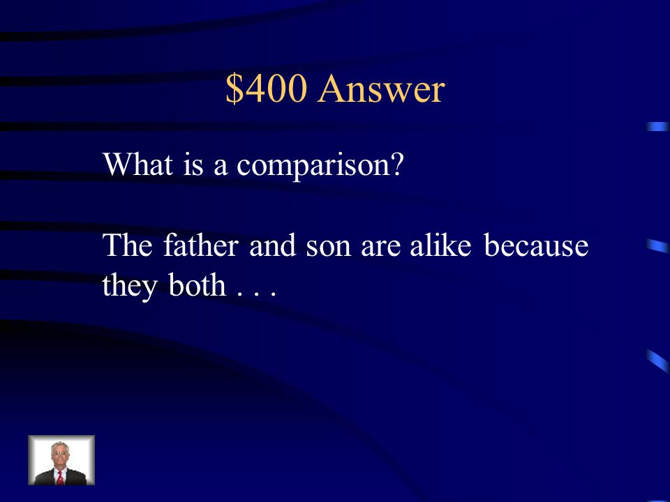 $400 Question Text Information When you look at how something is the same as something else. That is which: Comparison or Contrast