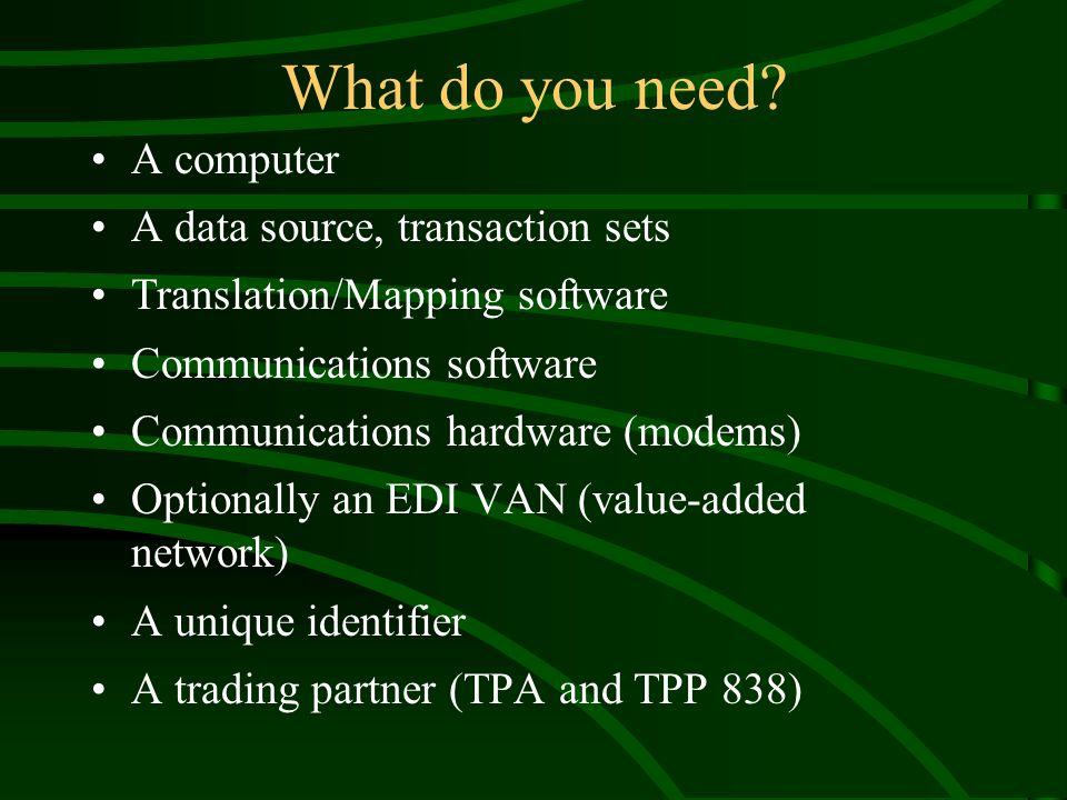 Example EDI Scenario VAN Client Machine Sender Machine DB X- Lator DB X- Lator Raw Data EDI Document EDI Doc EDI Document EDI Doc Raw Data