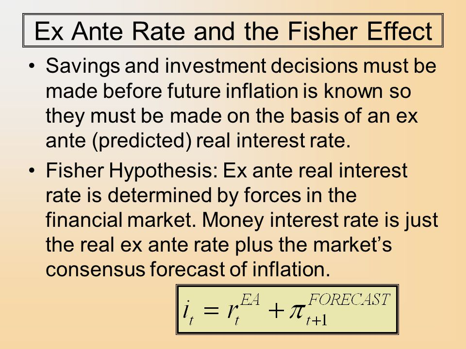 Ex Ante Rate and the Fisher Effect Savings and investment decisions must be made before future inflation is known so they must be made on the basis of an ex ante (predicted) real interest rate.