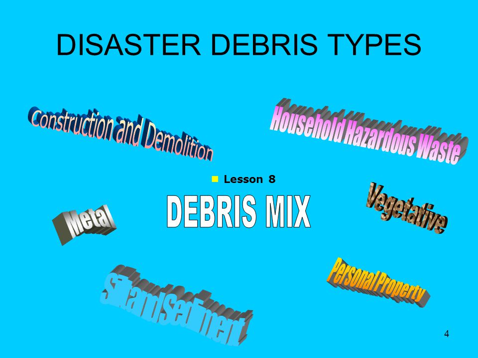5 CRITICAL DEBRIS ISSUES Types of potential disasters Estimated quantities and types of debris How it will be: –stored –collected –reduced –disposed