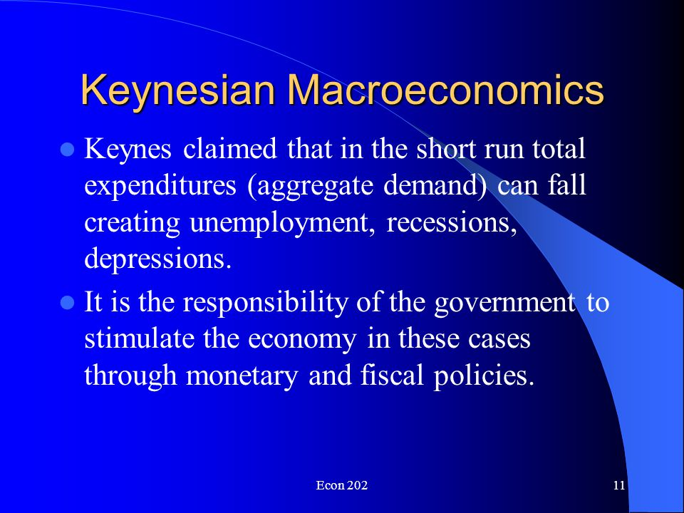 Econ 20210 Macroeconomics The need to view the economy beyond the supply and demand of individual markets grew from the experience of the Great Depression.