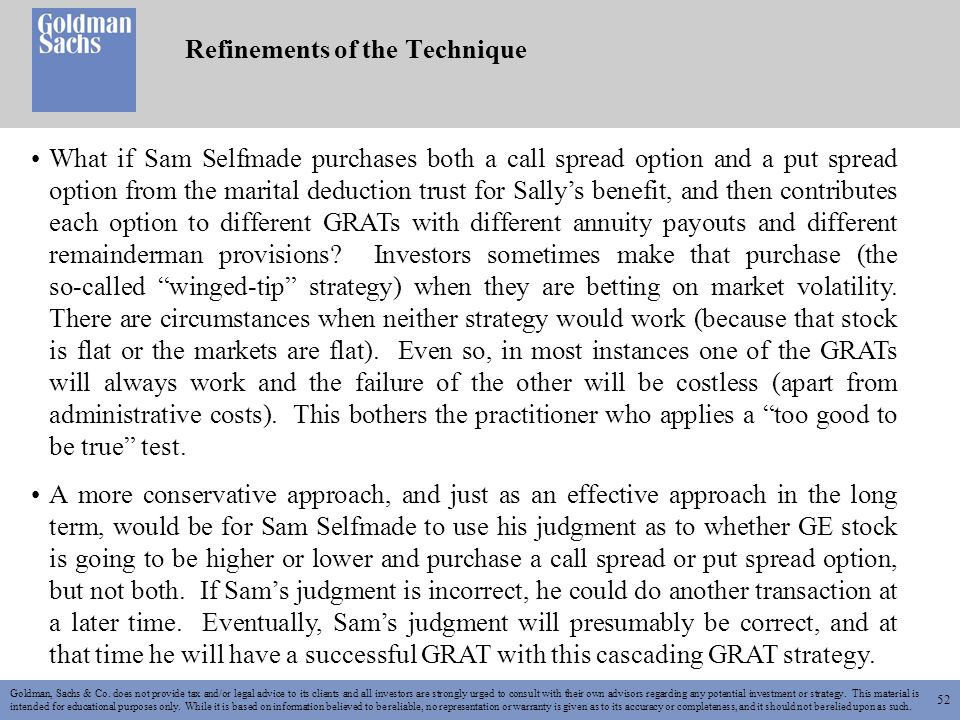 52 Refinements of the Technique Goldman, Sachs & Co.