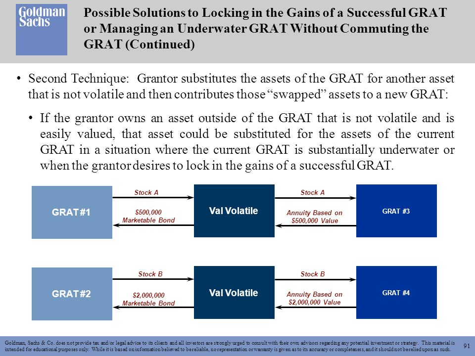 91 Goldman, Sachs & Co. does not provide tax and/or legal advice to its clients and all investors are strongly urged to consult with their own advisor