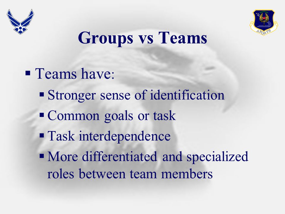 Groups vs Teams  Teams have :  Stronger sense of identification  Common goals or task  Task interdependence  More differentiated and specialized roles between team members